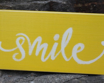 NEW Handpainted SMILE wooden sign Nursery Wedding Home Decor
