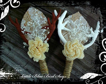 rustic wedding boutonniere set of 6 deer antler boutonniere wedding boutonniere groom's accessories