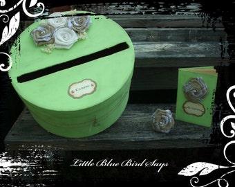 Mint green card box, guest book set, rustic wedding card box, rustic wedding, guest book, green card box, green guest book