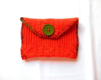 Orange~ Wool Clutch Purse