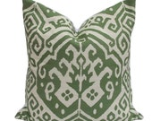 Green Ikat Pillow Cover - Ready to Ship!