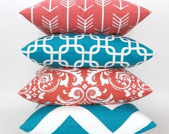 Throw Pillow Cover Set of FOUR, Coral & Turquoise Accent Pillows, Cushions, Decorator Pillow -MANY SIZES- Mixed patterns by Premier Prints