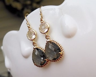 Gray and Gold Earrings  - Charcoal Gray Dangle Earrings - Gray and Clear Bridesmaid Earrings - Faceted Earrings Gray Wedding Earrings