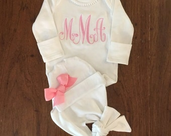 Newborn Girl Take Home Outfit- knotted baby gowns- Layette Gown and Personalized Hat New Baby Girl Gift