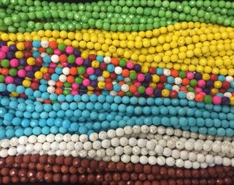 10mm howlite round beads, faceted , 45beads