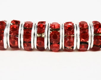 Rhinestone Rondelle Beads 6mm Siam Red Silver Plated Metal Acrylic Rhinestone Crystal Spacer Beads for Jewelry Making 50 Loose Beads