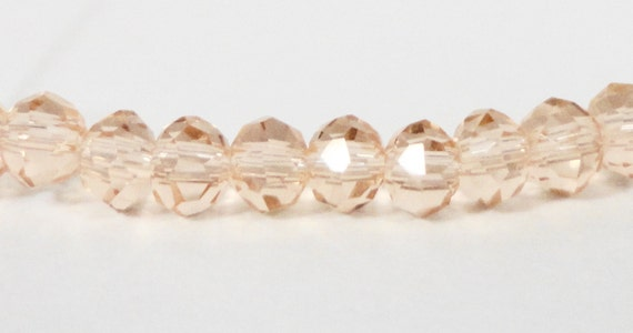 Rondelle Crystal Beads 4x3mm (3x4mm) Peach-Pink Small Faceted Chinese Crystal Glass Beads for Jewelry Making 100 Loose Beads per Pack