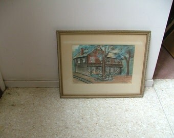 ELSAH, ILLINOIS Mississippi River House Midcentury 1958 Painting By Catherine Wenger