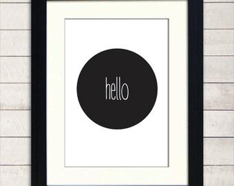 Hello, Typographic Print, A3