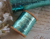 5y Vintage French c1930's Flat Sparkly Aqua Blue Tinsel Metallic Embroidery Thread Floss Ribbonwork Needlework Millinery Trim Ribbon
