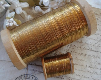 4y Antique French Early Flat Oval Gold Metal Metallic Embroidery Thread Floss Restoration Ribbonwork Needlework Millinery Flowers Fly Tying
