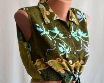 Crop Sleeveles Vintage Floral Top size S-M Thaiti Print Midriff Blouse Women Collar Top