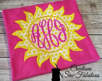 Pink Monogram Sunshine Appliqued Shirt - You Are My Sunshine Embroidered, Monogrammed, Personalized, Sun, Girls Monogram Shirt