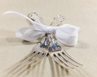 """Vintage 925 Solid Sterling Silver """"I DO"""" Hand Stamped Wedding Day Serving Forks Gift Classy Keepsake Heirloom - 128.4 grams"""