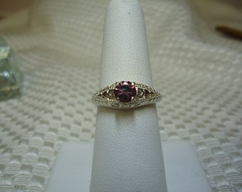 Round Cut Pink Zircon Ring in Sterling Silver   #1505