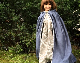 Blue Brocade Renaissance Dress and Velvet Cloak Girls Renaissance Costume Court Dress LARP costume