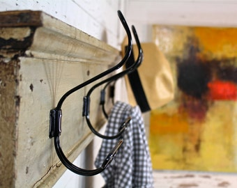4 Classic French Industrial or Schoolhouse Style Coat Hooks on Reclaimed Architectural Pediment