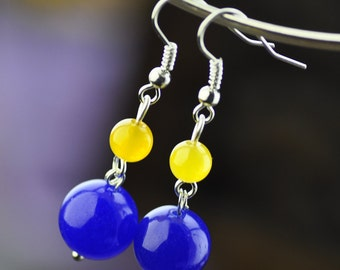 Handcrafted  Blue Chalcedony Yellow  Chalcedony Silver Plate Long Danlge Hoop Earrings