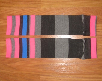 Pink, Black, Gray, and Blue Striped Leg Warmers