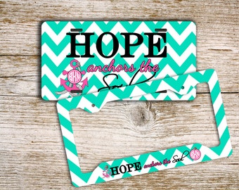 Hope anchors the Soul, Monogram license plate or frame, Inspirational, Turquoise chevron with pink  (1418)