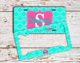 Birthday present for women, Pink license plate or frame, Personalized Aqua pink  (1419)