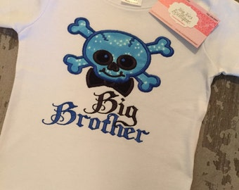 Big Brother Skull Appliqued Shirt