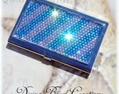 Silver Metal FREE SHIPPING Preciosa Rhinestone Crystal Bling Blue White Striped Business Card Case Holder
