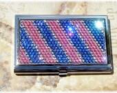 Silver Metal FREE SHIPPING Preciosa Rhinestone Crystal Bling Pink Purple Silver Striped Business Card Case Holder