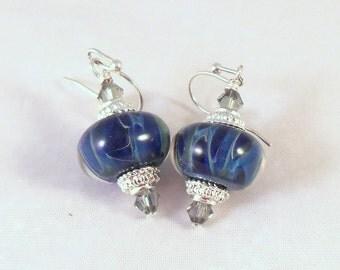 Ocean Colored Borosilicate Lampwork Earrings