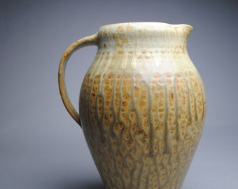 Clay Pitcher Stoneware Taffy and Green Ash B43