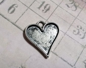 Heart Charms Pendants Antiqued Silver Stamping Blanks 21mm Bulk Charms Wholesale Charms True Wholesale 50 pieces