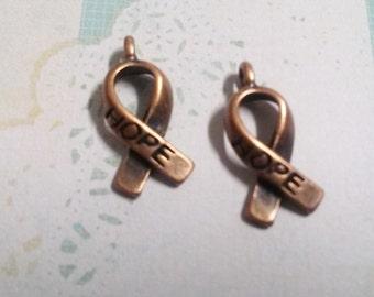 Cancer Awareness Charms Ribbon Charms HOPE Ribbon Charm Hope Charms Awareness Pendants Copper Charms BULK Charms Fundraising 50 pcs