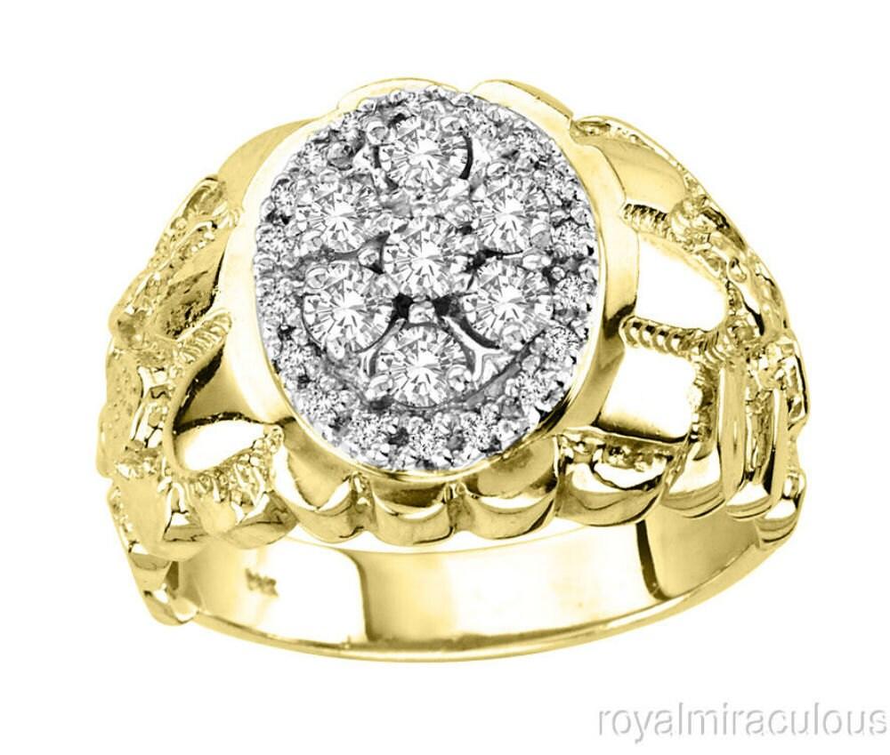 mens 14k white gold nugget ring