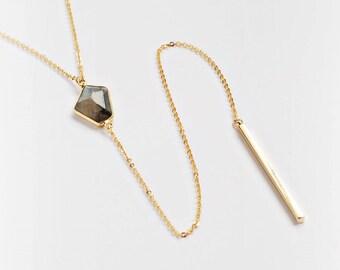 Fancy Lariat Necklace - Labradorite