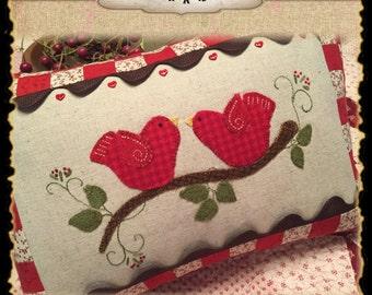Love Birds pillow wool appliqué kit and pattern