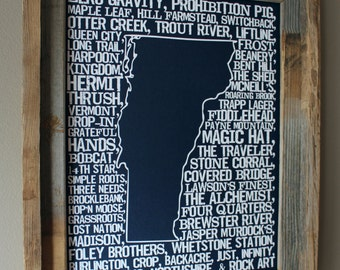 Beers of Vermont Word Map (Dark Blue)