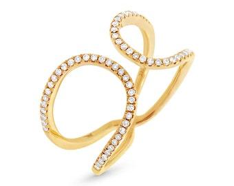 Beautiful Fashion Gold and Diamonds Ring BXSC22003696