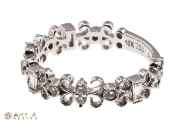 Beautiful White Gold and Diamonds One of a Kind Band 110-00008