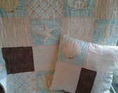 Nautical Baby Quilt and Matching Pillow Cover, Turquoise, Cream and Brown Nursery Bedding, Gender Neutral Nautical Crib Quilt and Pillow