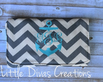 Handmade personalized changing pad/clutch  (Grey and white chevron with teal accents)
