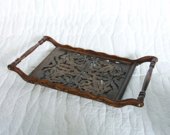 Wooden serving tray with side handles, carved out leaves, handmade carving, botanical leaf pattern. Natural wood. Decor, display centerpiece