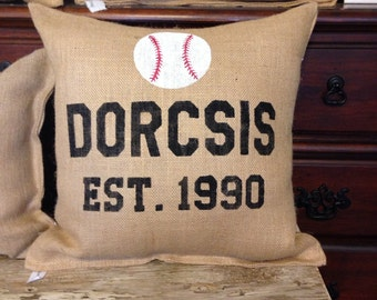 Personalized baseball pillow, boys room pillow, boys room decor, sports throw pillow, sports decor