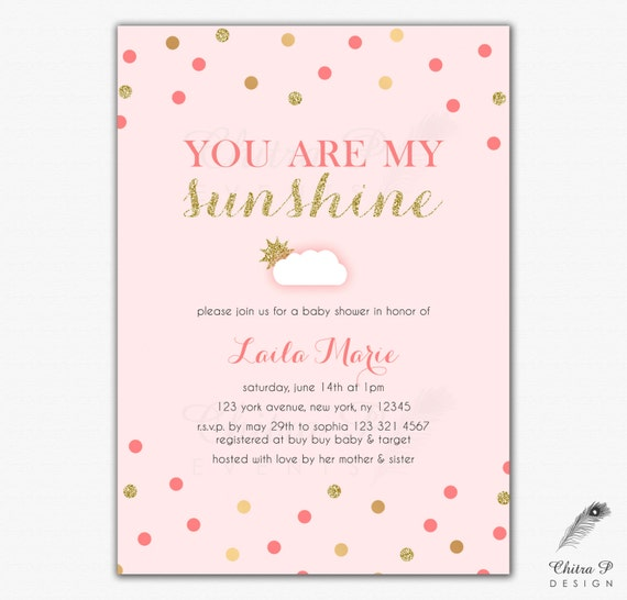 you are my sunshine baby shower invitations printed or printable