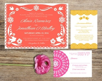 Papel Picado Fiesta Wedding Invitation Suite, Custom Printable Card or Printed Set, Mexican Themed Modern Pattern, Coral, Pink, Sunflower