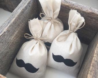 25 x Calico Moustache Wedding/Party Favor Bags