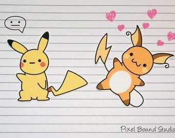 Chibi Pikachu/Raichu Stickers and Magnets