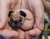 Felt brooch - Dog - Pug - Felting toy - Beige brooch - Brooch - Jewelry