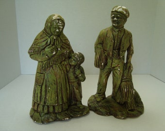 A DUBLIN FIND:  Two Peasant Figurines in Old Green Paint
