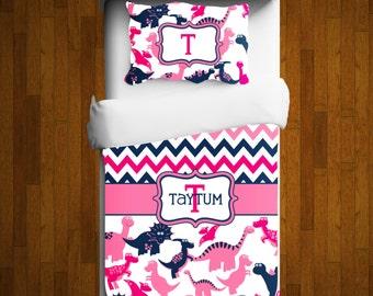 Dinosaur Bedding - Personalized Dinosaur Comforter - Dinosaur Duvet - Custom Dinosaur Bedding - Pink Dinosaur Bedding