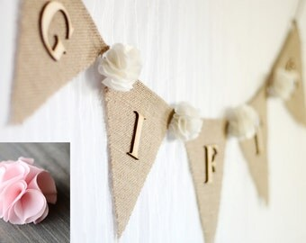 burlap wedding gifts banner / light pink / shabby chic rustic wedding decoration / bridal baby shower banner /fabric flowers gift table sign